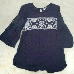 Boho black peasant blouse, lace, floral, black, m